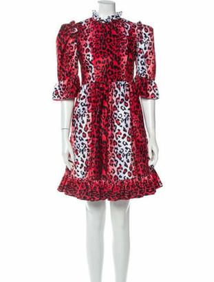 Batsheva Animal Print Mini Dress Red