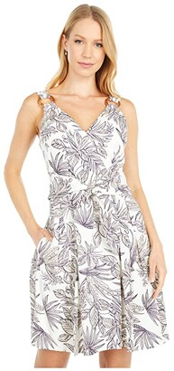 Vince Camuto Printed Linen Tie Front Fit-and-Flare with O Ring Detail (Ivory/Navy) Women's Dress