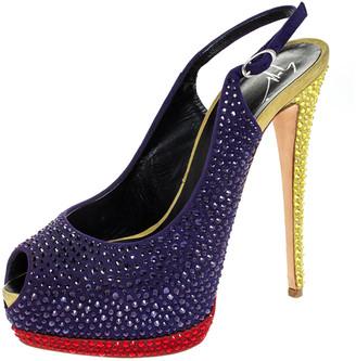 Giuseppe Zanotti Tri Color Suede Crystal Embellished Peep Toe Platform Slingback Sandals Size 40