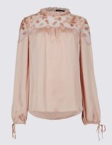 M&S Collection Embroidered Yoke Long Sleeve Blouse