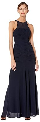 Halston Sleeveless High Neck Fitted Ruching Gown (Dark Navy) Women's Dress