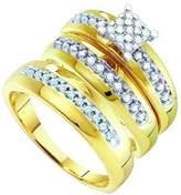DazzlingRock Collection 0.34 Carat (ctw) 10K Yellow Gold Round White Diamond Men & Women Fashion Engagement Ring Trio Set 1/3 CT