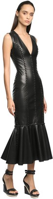 Alexander McQueen Leather Fitted Midi Dress W/Knots