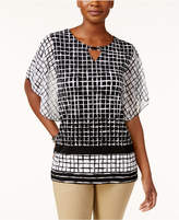JM Collection Petite Flutter-Sleeve Grid-Print Blouse, Only at Macy's