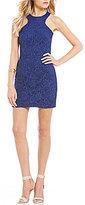 Jodi Kristopher Glitter-Accented Lace Sheath Dress
