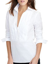 Lauren Ralph Lauren Petite Antoniee Pleated-Front Tuxedo Shirt