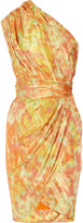 Lela Rose One-shoulder printed taffeta dress