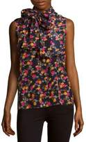 Victoria Beckham Sleeveless Printed Silk Top