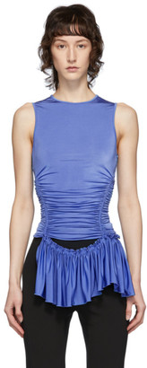 Thierry Mugler Blue Ruched Tank Top