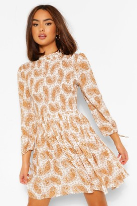 boohoo Mixed Print Balloon Sleeve Skater Dress