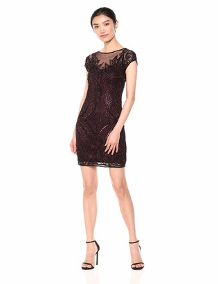 Pisarro Nights Women's Short Boat and Illusion Neck Beaded Dress with Flame Motif