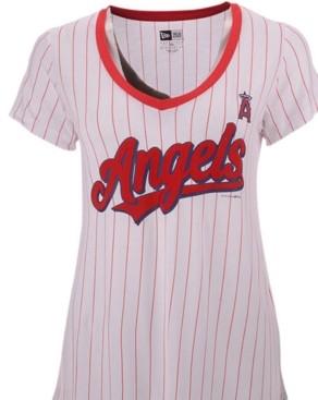 New Era Women's Los Angeles Angels Pinstripe V-Neck T-Shirt