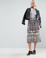 Asos Pleated Midi Skirt In Snake Print