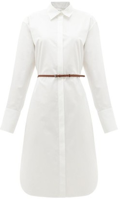 The Row Sonia Belted Poplin Midi Shirt Dress - White