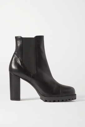 Stuart Weitzman Wenda Leather Ankle Boots - Black