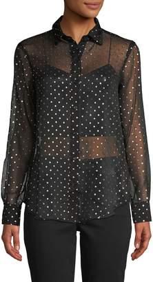 BB Dakota Star-Print Sheer Shirt