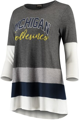 Women's Charcoal/Navy Michigan Wolverines Block Party Color Blocked Drapey Long Sleeve Tri-Blend Tunic Shirt