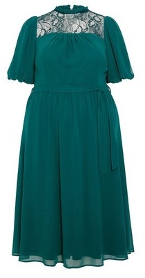 Dorothy Perkins Womens **Dp Curve Billie & Blossom Green Lace Fit And Flare Dress, Green