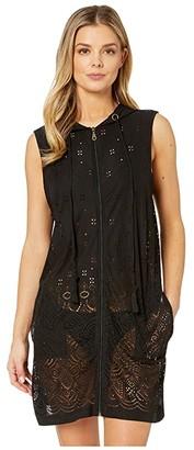 Dotti Gypsy Gem Zip Front Hoodie Dress Cover-Up (Black) Women's Swimwear