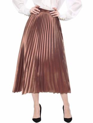 Allegra K Women's Zip Closure Accordion Metallic Midi Pleated Skirt Copper 16