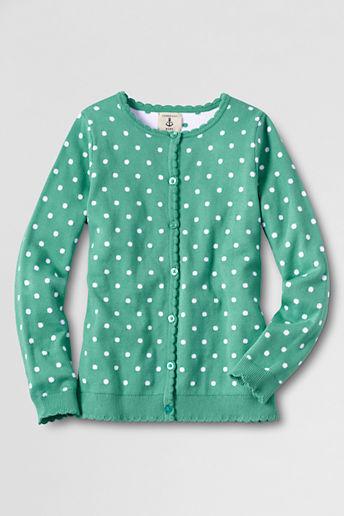 Lands' End Little Girls' Long Sleeve Scalloped Placket Cardigan Sweater