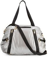 Cynthia Rowley Alex L Duffle Bag With Leather Trim, Silver