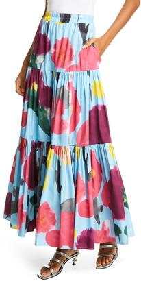 La DoubleJ Big Print Convertible Tiered Cotton Maxi Skirt