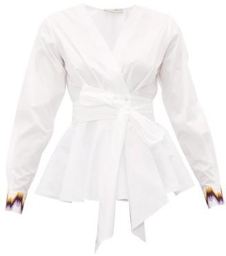 Mary Katrantzou Orla Wrap-front Cotton-poplin Top - White