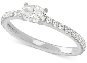 Arabella Cubic Zirconia Oval Ring in Sterling Silver