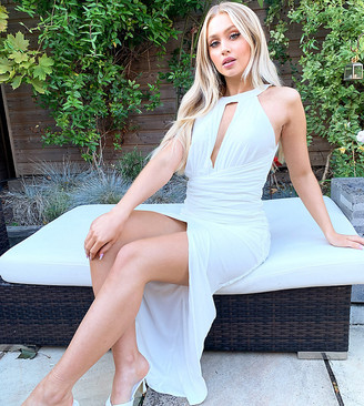 Jaded Rose exclusive high neck midaxi dress in ivory