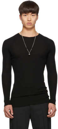 Rick Owens Black Ribbed Round Neck Sweater