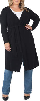 Standards & Practices Plus Size Knit Tie Open-Front Drape Long Maxi Duster Cashmere Cardigan