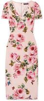Dolce & Gabbana Floral-print Crepe Midi Dress - Pastel pink