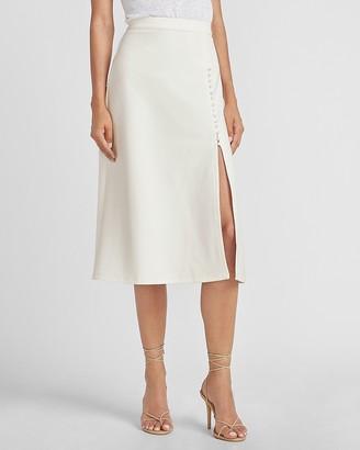Express Ladygang High Waisted Knit Ponte Midi Skirt