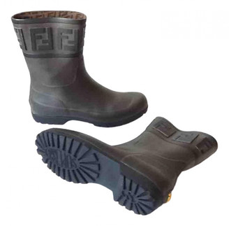 Fendi Anthracite Rubber Boots