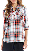 Takara Zippered-Pocket Plaid Tunic