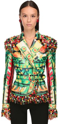 Moschino Torero Print Leather Jacket W/ Beads
