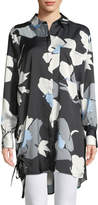 Catherine Malandrino Abstract Tie-Side Button-Front Tunic