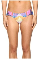 Mara Hoffman Women's Radial Side-Ruched Low-Rise Cheeky Swimsuit Bikini Bottom