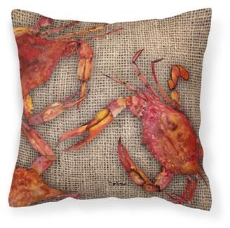Caroline's Treasures Cooked Crabs on Faux Burlap Fabric Decorative Pillow
