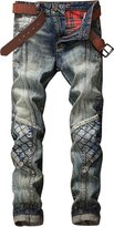 HerQueen Men Jeans Patchwork Destroyed Motor Hipster Retro Wash Skinny Pants