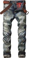 HerQueen Men Jeans Patchwork Destroyed Motor Hipster Retro Wash Skinny Pants
