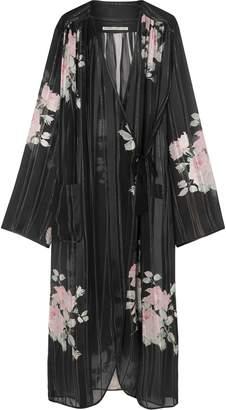 Alessandra Rich Floral-print Silk-georgette Robe