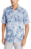 Cubavera Men's Distressed Floral Printed Short Sleeve Woven Shirt