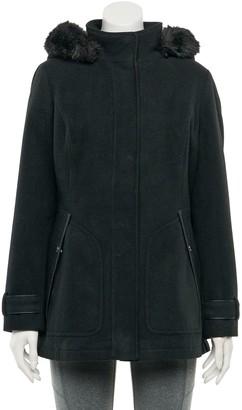 Details Women's Faux-Fur Hood Faux-Wool Coat