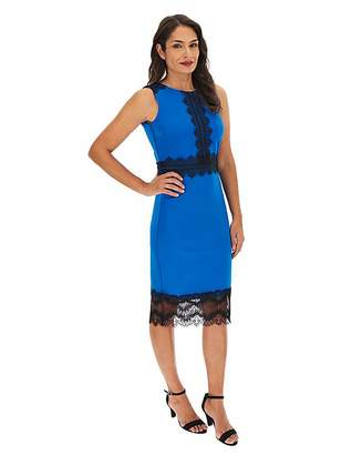 Capsule Cobalt Scuba Lace Panel Bodycon Dress
