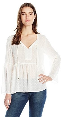 Dylan by True Grit Women's Sheer Chiffon Textured Dot Long Sleeve Poet Blouse