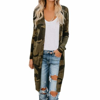 Fannyfung Womens Ladies Long Cardigan Coats Long Sleeve Camouflage Outerwear Coat Casual Breathable Comfortable Daily Coats for Women Ladies Girls