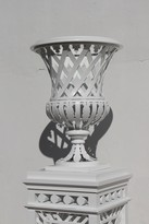 The Well Appointed House Trianon Garden Vase in White with Optional Pedestal