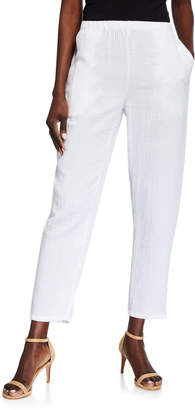 Eileen Fisher Tapered Cotton Gauze Pull-On Pants